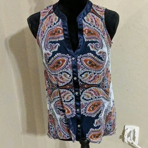 INC Navy Blue Paisley Top